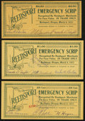 Obsoletes By State:Oregon, Reedsport, OR- Reedsport Emergency Scrip .25; $1; $2.50 Mar. 6,1933 Shafer OR310-.25b; 1b; 2.5d . ... (Total: 3 notes)