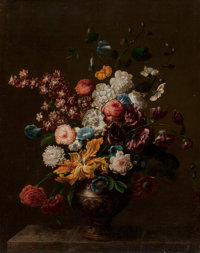 Circle of Jean-Baptiste Monnoyer (French) Still Life of Flowers Oil on canvas 36-1/2 x 29-1/2 inc