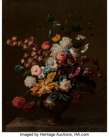 Circle of Jean-Baptiste Monnoyer (French) Still Life of Flowers Oil on canvas 36-1/2 x 29-1/2 inches (92.7 x 74.9 cm)...