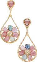 Estate Jewelry:Earrings, Diamond, Multi-Stone, Gold Earrings . ...