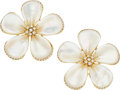 Estate Jewelry:Earrings, Diamond, Mother-of-Pearl, Gold Earrings. ...