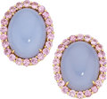 Estate Jewelry:Earrings, Chalcedony, Pink Sapphire, Gold Earrings, Paolo Costagli. ...