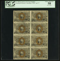 Fr. 1288 25¢ Second Issue Uncut Block of Eight. PCGS Choice About New 58