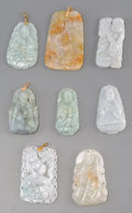 Jewelry:Pendants, A Group of Eight Chinese Carved Jadeite and Hardstone Pendants. 2-1/2 inches (6.4 cm) (longest). ... (Total: 8 Items)