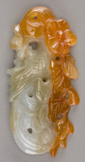 Jewelry:Pendants, A Chinese Carved Jade Phoenix Pendant with Russet Inclusions. 1 inch high x 2-1/4 inches wide (2.5 x 5.7 cm). ...