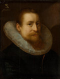 Paintings, Dutch School (17th Century). A portrait of a gentleman, bust-length, wearing a ruff. Oil on panel. 19-1/4 x 14-3/4 inche...