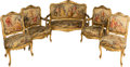 Furniture , A Five-Piece Louis XV-Style Giltwood and Aubusson-Upholstered Salon Suite, 19th century. 45 h x 53 w x 27 d inches (114.3 x ... (Total: 5 Items)