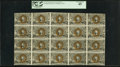 Fr. 1233 5¢ Second Issue Complete Sheet of 20. PCGS Extremely Fine 45