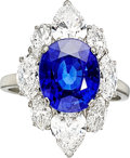 Estate Jewelry:Rings, Burma Sapphire, Diamond, Platinum Ring, Bvlgari. ...