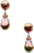 Estate Jewelry:Earrings, South Sea Cultured Pearl, Zircon, Gold Earrings, Frank Ancona. ...