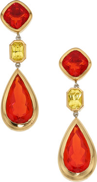 Fire Opal, Sapphire, Gold Earrings, Frank Ancona