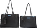 "Luxury Accessories:Bags, Prada Set of Two; Black Leather Tote Bags. Excellent to PristineCondition. 15"" Width x 11"" Height x 7"" Depth. 13""...(Total: 2 Items)"