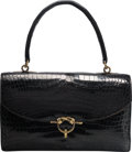 """Luxury Accessories:Bags, Hermes Shiny Black Crocodile Sac Cordeliere Bag with Gold Hardware.R, 1962. Good Condition. 11"""" Width x 7""""Height..."""