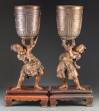 A Pair of Japanese Patinated and Partial Gilt Bronze Vases: Benkei Stealing the Mii-dera Temple Bell