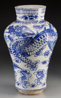 Asian:Other, A Korean Blue and White Earthenware Dragon Vase, Joseon Dynasty. 19 inches high (48.3 cm). ...
