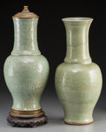 Asian:Chinese, A Near Pair of Chinese Celadon Glazed Earthenware Vases, MingDynasty. 17-3/4 inches high (45.1 cm) (unmounted example). ...(Total: 2 Items)