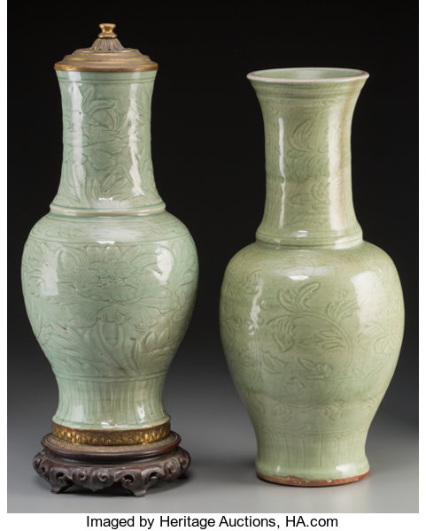 A Near Pair Of Chinese Celadon Glazed Earthenware Vases Lot