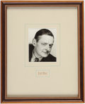 Books:Manuscripts, [T. S. Eliot]. Collection of Various T. S. Eliot-Related Items fromHis Niece, Theodora. [Various places, dates]. Two items ...