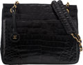 "Luxury Accessories:Bags, Chanel Shiny Black Caiman Crocodile Shoulder Bag. GoodCondition. 11"" Width x 9"" Height x 3.5"" Depth. ..."