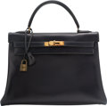 Luxury Accessories:Bags, Hermes 32cm Blue Marine Calf Box Leather Retourne Kelly Ba...