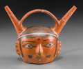 Pre-Columbian:Ceramics, A Wari Double-spouted Portrait Head Vessel...