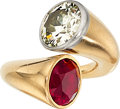 Estate Jewelry:Rings, Retro Diamond, Synthetic Ruby, Platinum, Rose Gold Ring. ...