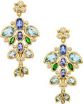 Estate Jewelry:Earrings, Multi-Stone, Diamond, Gold Earrings, Temple St. Clair. ...