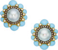 Estate Jewelry:Earrings, Colored Diamond, Diamond, Turquoise, Mabe Pearl, Gold Earrings. ...
