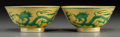 Asian:Chinese, A Pair of Imperial Chinese Yellow Green Enameled Porcelain 'Dragonwith Flaming Pearl' Bowls, Qing Dynasty, Daoguang Period,...(Total: 2 Items)