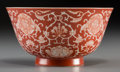 Asian:Chinese, An Imperial Chinese Coral Ground Porcelain Chrysanthemum Bowl, QingDynasty, Daoguang Period, circa 1820-1850. Marks: Daogua...