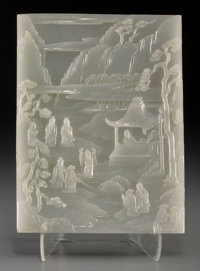 A Fine Chinese Carved White Jade Double-Sided Plaque, Qing Dynasty, 18th-19th century 8-1/2 h x 6-1/4 w x 0-5/8 d