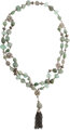"""Christian Dior Green Quartz & Silver Necklace Very Good to Excellent Condition 0.5"""" Width x 74"""" Length..."""