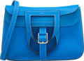 """Luxury Accessories:Bags, Hermes 31cm Blue Hydra Clemence Leather Halzan Bag with Palladium Hardware. X, 2016. Excellent to Pristine Condition. 12"""" ..."""