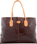 """Luxury Accessories:Bags, Tod's Brown Patent Leather Tote Bag. Good Condition. 16"""" Width x11.5"""" Height x 5.5"""" Depth. ..."""