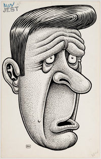 Basil Wolverton Jest Gag Cartoon Original Art (Humorama, c. 1950s)