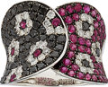 Estate Jewelry:Rings, Colored Diamond, Diamond, Ruby, White Gold Ring. ...