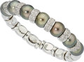 Estate Jewelry:Bracelets, South Sea Cultured Pearl, Diamond, White Gold Bracelet. ...