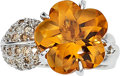 Estate Jewelry:Rings, Citrine, Colored Diamond, White Gold Ring. ...