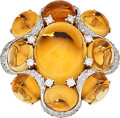 Estate Jewelry:Rings, Citrine, Diamond, Gold Ring, Sarosi. ...