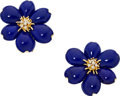 Estate Jewelry:Earrings, Lapis Lazuli, Diamond, Gold Earrings. ...