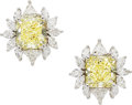 Estate Jewelry:Earrings, Fancy Yellow Diamond, Diamond, White Gold Earrings. ...