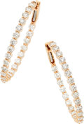 Estate Jewelry:Earrings, Diamond, Rose Gold Earrings The hoops feature ...