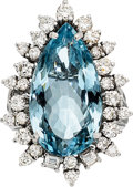 Estate Jewelry:Rings, Aquamarine, Diamond, White Gold Pendant-Ring. ...