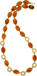 Estate Jewelry:Necklaces, Diamond, Amber, Gold Necklace. ...