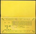 Obsoletes By State:Oregon, Pasco, OR- Pasco Relief Scrip $1 Jan. 1, 1934 Shafer WA-261-1. ...