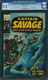 Captain Savage and His Leatherneck Raiders #11 (Marvel, 1969) CGC VF- 7.5 OFF-WHITE TO WHITE pages