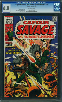 Captain Savage and His Leatherneck Raiders #13 (Marvel, 1969) CGC FN 6.0 OFF-WHITE pages