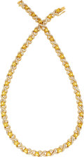 Estate Jewelry:Necklaces, Diamond, Yellow Sapphire, Gold Necklace. ...