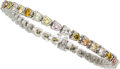 Estate Jewelry:Bracelets, Multi-Colored Diamond, Platinum Bracelet. ...