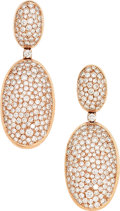 Estate Jewelry:Earrings, Diamond, Rose Gold Earrings. ...